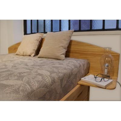 Tête de lit demi-lune tablettes intégrées