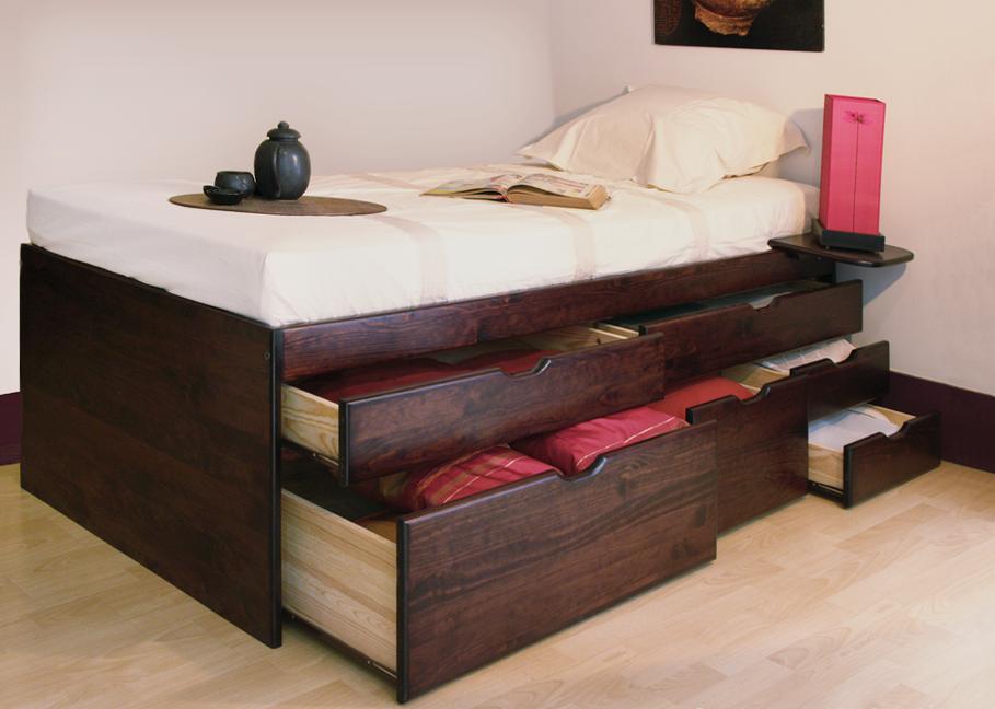 lit haut en bois massif 90x190