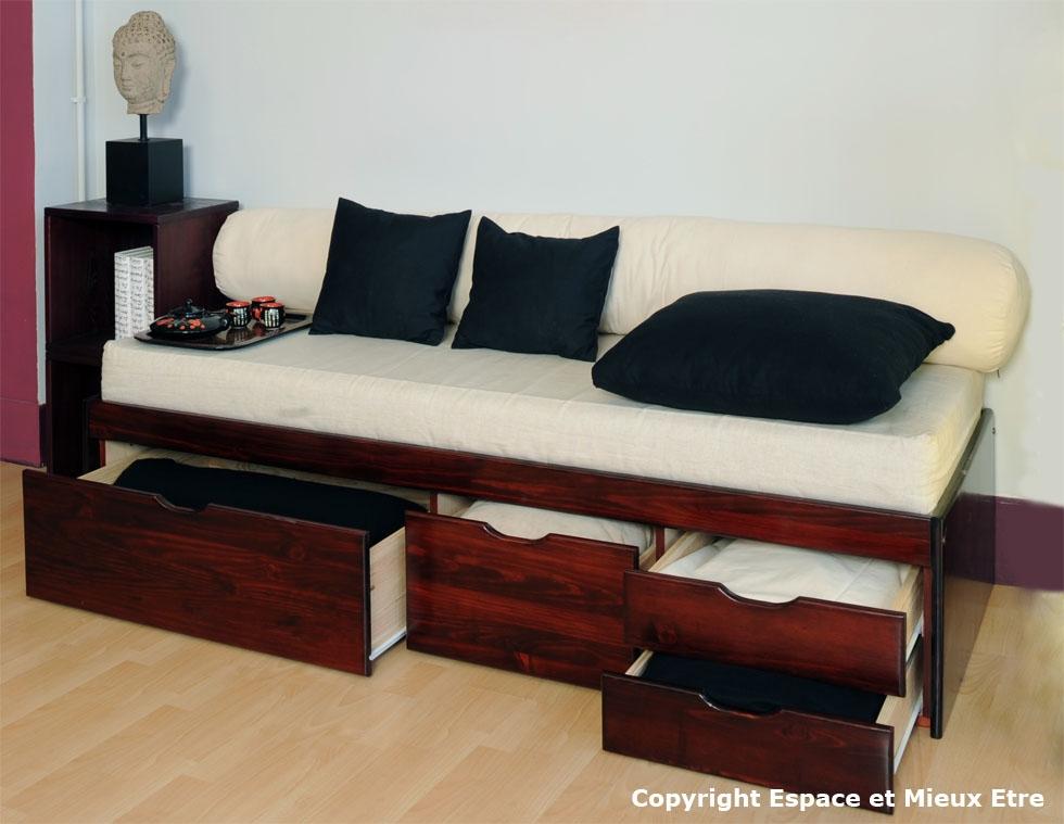 canapé tiroir bois massif